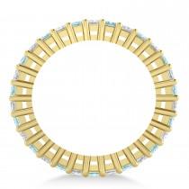 Princess Diamond & Aquamarine Wedding Band 14k Yellow Gold (2.32ct)
