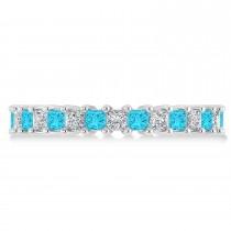 Princess Blue & White Diamond Wedding Band 14k White Gold (2.32ct)