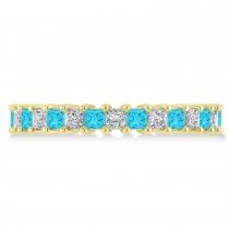 Princess Blue & White Diamond Wedding Band 14k Yellow Gold (2.32ct)
