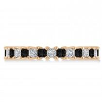 Princess Black & White Diamond Wedding Band 14k Rose Gold (2.32ct)