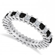 Princess Black & White Diamond Wedding Band 14k White Gold (2.32ct)