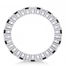 Princess Cut Black Diamond Eternity Wedding Band 14k White Gold (2.32ct)