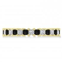 Princess Black & White Diamond Wedding Band 14k Yellow Gold (2.32ct)