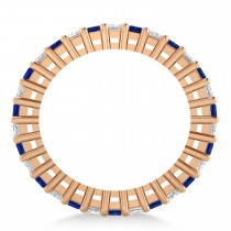 Princess Diamond & Blue Sapphire Wedding Band 14k Rose Gold (2.32ct)