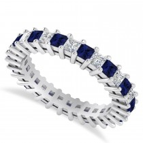 Princess Cut Diamond & Blue Sapphire Eternity Wedding Band 14k White Gold (2.32ct)