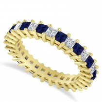 Princess Diamond & Blue Sapphire Wedding Band 14k Yellow Gold (2.32ct)
