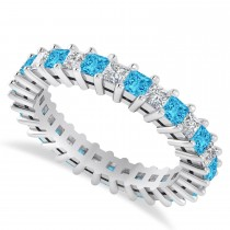 Princess Diamond & Blue Topaz Wedding Band 14k White Gold (2.32ct)