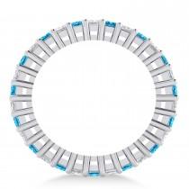 Princess Diamond & Blue Topaz Wedding Band 14k White Gold (2.32ct)