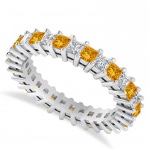 Princess Diamond & Citrine Wedding Band 14k White Gold (2.32ct)