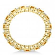 Princess Diamond & Citrine Wedding Band 14k Yellow Gold (2.32ct)