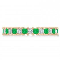 Princess Diamond & Emerald Wedding Band 14k Rose Gold (2.32ct)