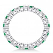 Princess Cut Diamond & Emerald Eternity Wedding Band 14k White Gold (2.32ct)