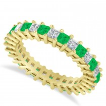 Princess Diamond & Emerald Wedding Band 14k Yellow Gold (2.32ct)