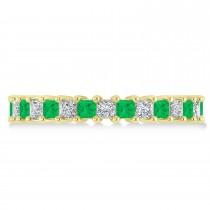 Princess Diamond & Emerald Wedding Band 14k Yellow Gold (2.32ct)