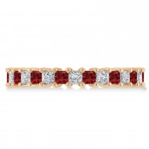 Princess Diamond & Garnet Wedding Band 14k Rose Gold (2.32ct)
