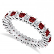 Princess Cut Diamond & Garnet Eternity Wedding Band 14k White Gold (2.32ct)