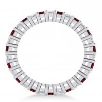 Princess Diamond & Garnet Wedding Band 14k White Gold (2.32ct)