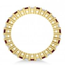 Princess Diamond & Garnet Wedding Band 14k Yellow Gold (2.32ct)