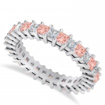 Princess Cut Diamond & Morganite Eternity Wedding Band 14k White Gold (2.32ct)