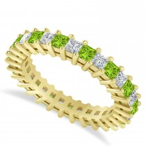 Princess Cut Diamond & Peridot Eternity Wedding Band 14k Yellow Gold (2.32ct)