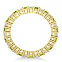 Princess Diamond & Peridot Wedding Band 14k Yellow Gold (2.32ct)