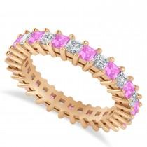 Princess Cut Diamond & Pink Sapphire Eternity Wedding Band 14k Rose Gold (2.32ct)