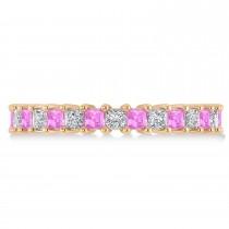 Princess Diamond & Pink Sapphire Wedding Band 14k Rose Gold (2.32ct)