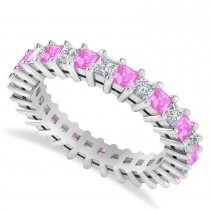 Princess Diamond & Pink Sapphire Wedding Band 14k White Gold (2.32ct)