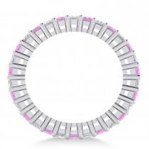 Princess Diamond & Pink Sapphire Wedding Band 14k White Gold (2.32ct)
