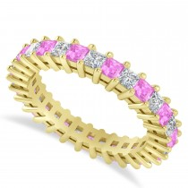 Princess Diamond & Pink Sapphire Wedding Band 14k Yellow Gold (2.32ct)