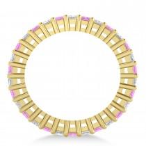 Princess Diamond & Pink Sapphire Wedding Band 14k Yellow Gold (2.32ct)