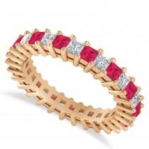 Princess Diamond & Ruby Wedding Band 14k Rose Gold (2.32ct)