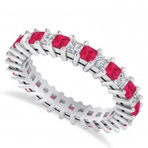 Princess Cut Diamond & Ruby Eternity Wedding Band 14k White Gold (2.32ct)