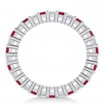 Princess Diamond & Ruby Wedding Band 14k White Gold (2.32ct)
