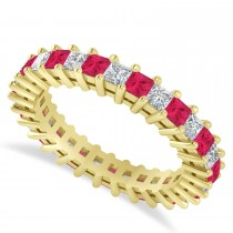 Princess Cut Diamond & Ruby Eternity Wedding Band 14k Yellow Gold (2.32ct)