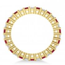 Princess Diamond & Ruby Wedding Band 14k Yellow Gold (2.32ct)