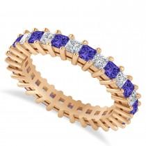 Princess Cut Diamond & Tanzanite Eternity Wedding Band 14k Rose Gold (2.32ct)