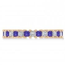 Princess Diamond & Tanzanite Wedding Band 14k Rose Gold (2.32ct)