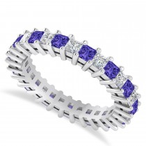 Princess Cut Diamond & Tanzanite Eternity Wedding Band 14k White Gold (2.32ct)