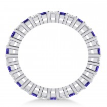 Princess Diamond & Tanzanite Wedding Band 14k White Gold (2.32ct)