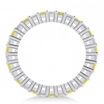 Princess Cut Yellow Diamond Eternity Wedding Band 14k White Gold (2.32ct)