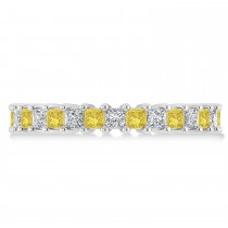 Princess Yellow & White Diamond Wedding Band 14k White Gold (2.32ct)