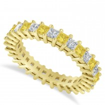 Princess Yellow & White Diamond Wedding Band 14k Yellow Gold (2.32ct)