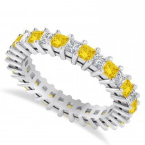 Princess Cut Diamond & Yellow Sapphire Eternity Wedding Band 14k White Gold (2.32ct)
