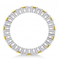 Princess Diamond & Yellow Sapphire Wedding Band 14k White Gold (2.32ct)