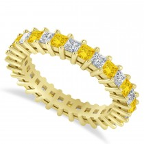 Princess Cut Diamond & Yellow Sapphire Eternity Wedding Band 14k Yellow Gold (2.32ct)