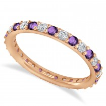 Diamond & Amethyst Eternity Wedding Band 14k Rose Gold (0.87ct)