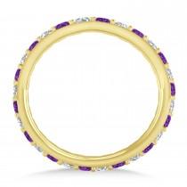 Diamond & Amethyst Eternity Wedding Band 14k Yellow Gold (0.87ct)