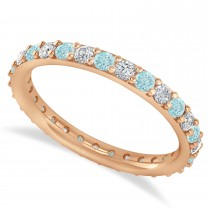 Diamond & Aquamarine Eternity Wedding Band 14k Rose Gold (0.87ct)