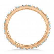Diamond & Aquamarine Eternity Wedding Band 14k Rose Gold (0.87ct)